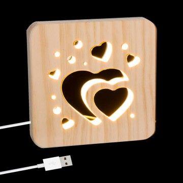 LÁMPARA LED LOVE MADERA USB
