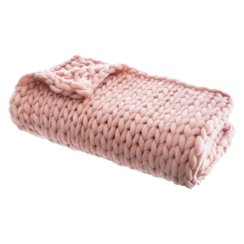 PINK KNITTED QUILT 125X150