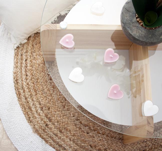 Velas con formas de corazón, unos adornos para San Valentín muy románticos
