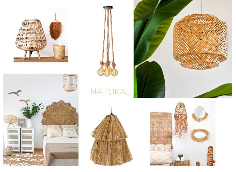 decorar con lámparas de fibras naturales