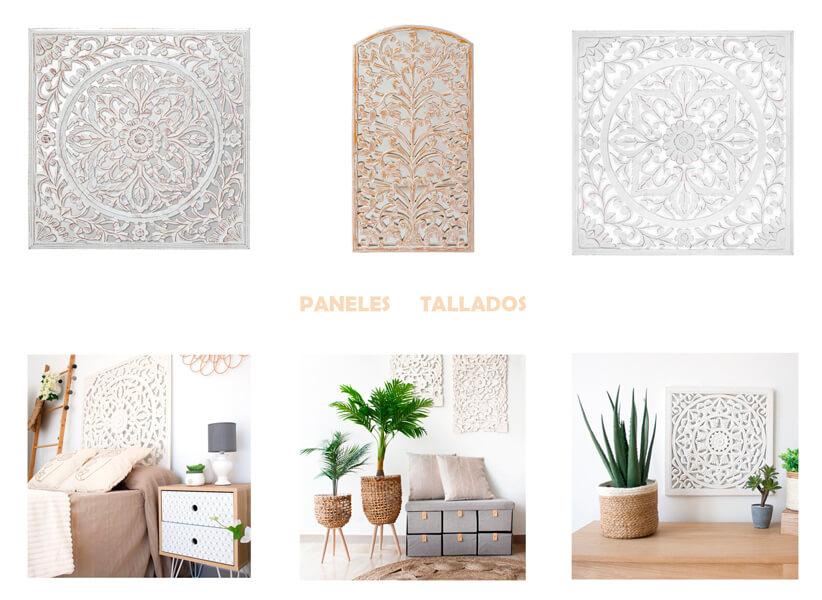 Paredes decoradas con paneles tallados