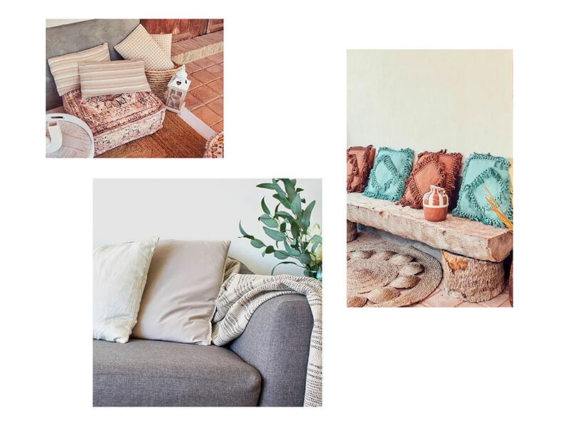 Diferentes modelos de cojines en la decoración textil hogar de Casika