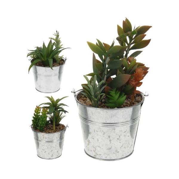 Planta Artificial en Maceta de Zinc | Casika
