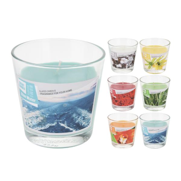 Vaso de cristal con vela colores vivos casika for Vasos cristal colores