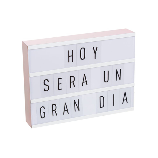 Caja luz de madera rosa 75 letras casika - Caja de luz de madera ...