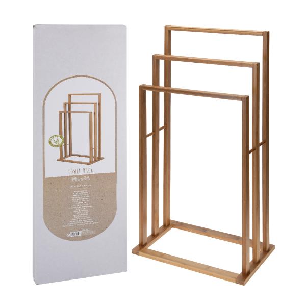 Colgador toallas bambu 82x40 casika for Colgador de toallas de bano