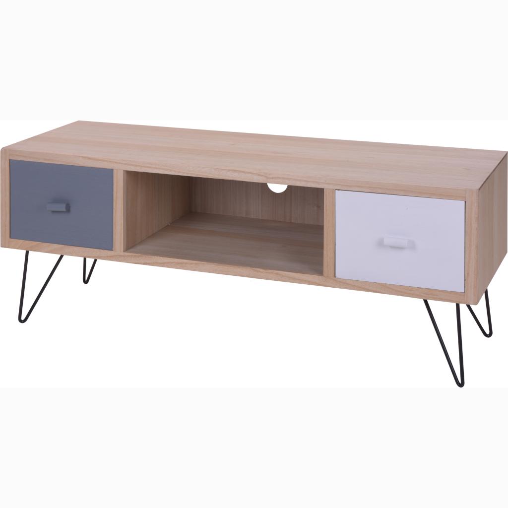 Mueble tv gris blanco casika - Mueble blanco pared ...