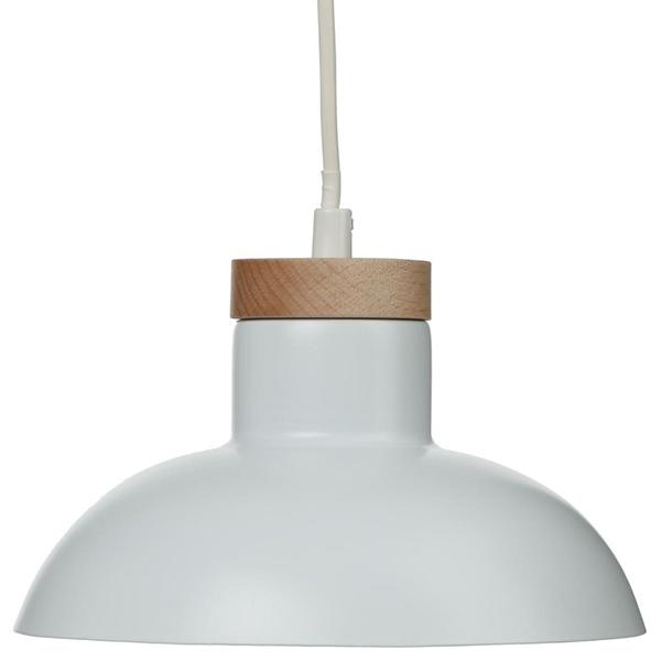 Lampara Techo Blanca Metal Y Madera Casika - Lamparas-de-techo-en-madera